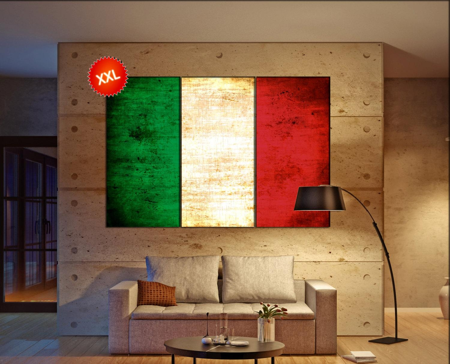 Italy Flag Canvas Art Print Large Wall Art Canvas Print Italy With Regard To Italian Flag Wall Art (View 6 of 20)