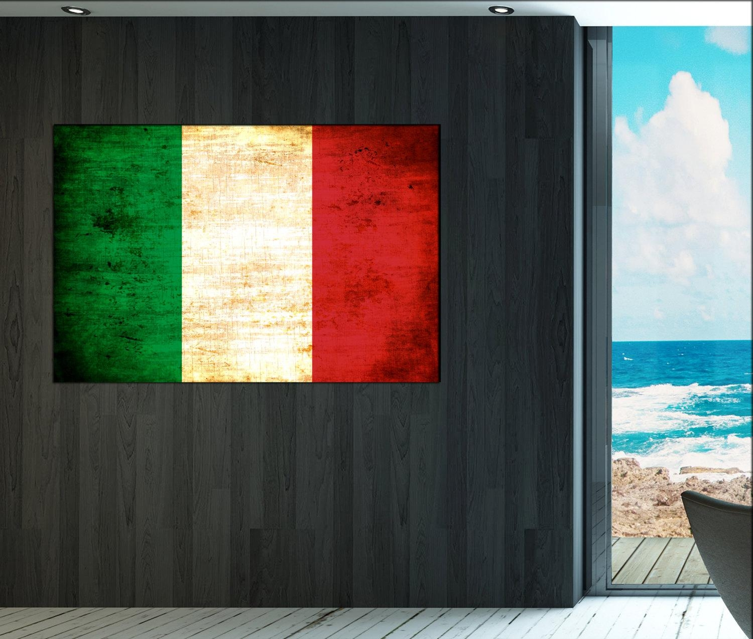 Italy Flag Canvas Art Print Large Wall Art Canvas Print Italy With Regard To Italian Flag Wall Art (View 2 of 20)