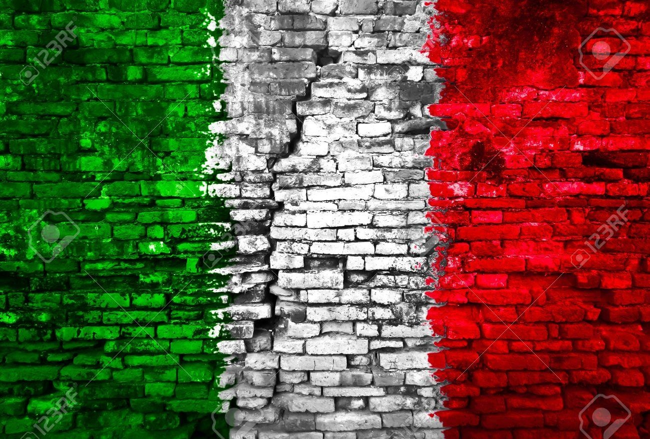 Italy Flag Painted On Old Brick Wall Stock Photo, Picture And With Regard To Italian Flag Wall Art (View 4 of 20)