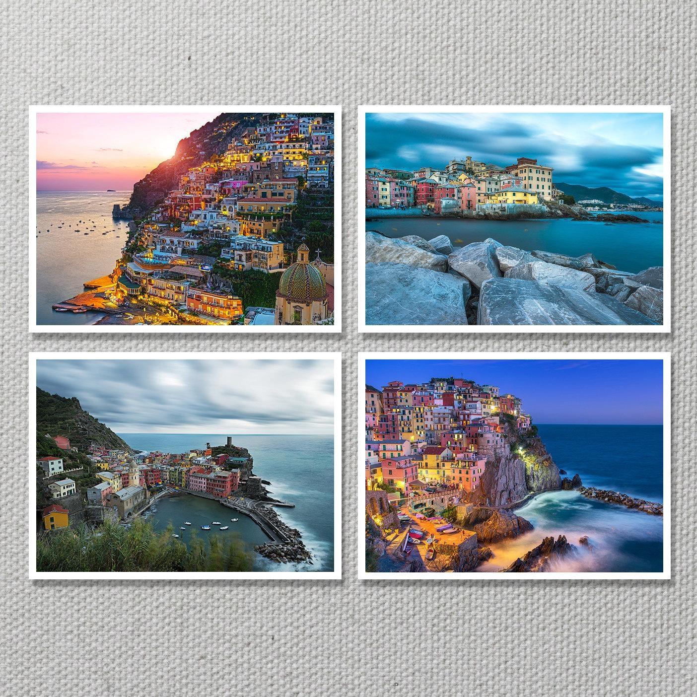 Italy Seascape Print Set Amalfi Coast Positano Cinque With Italian Coast Wall Art (Image 12 of 20)