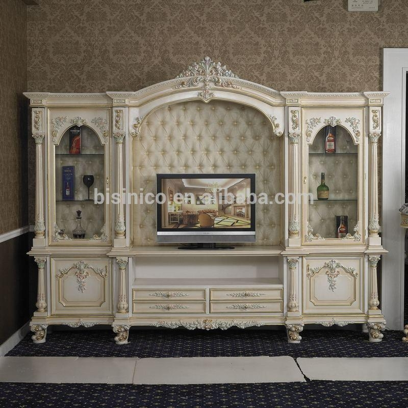 Italy Style European Classical White And Gold Colour Wooden Tv Regarding Most Popular Antique Style Tv Stands (Image 14 of 20)