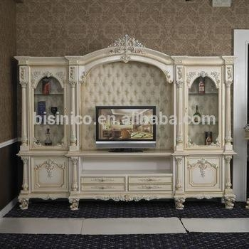 Italy Style European Classical White And Gold Colour Wooden Tv Throughout Latest French Tv Cabinets (Image 15 of 20)
