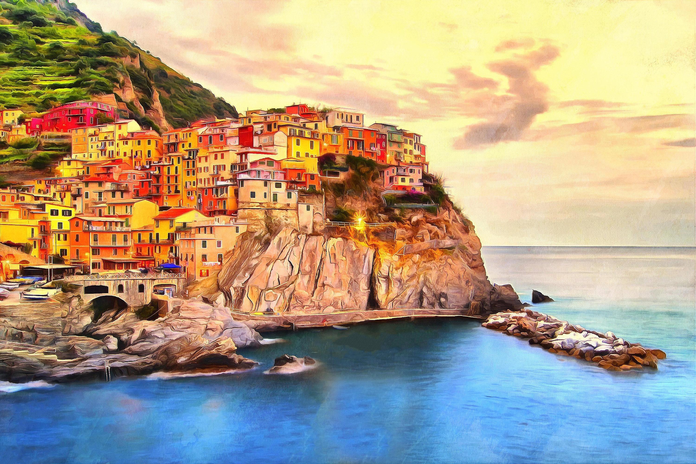 Italy Watercolor Coast Ocean Painting Acrylic Oil Wall Art Regarding Italian Coast Wall Art (Image 13 of 20)
