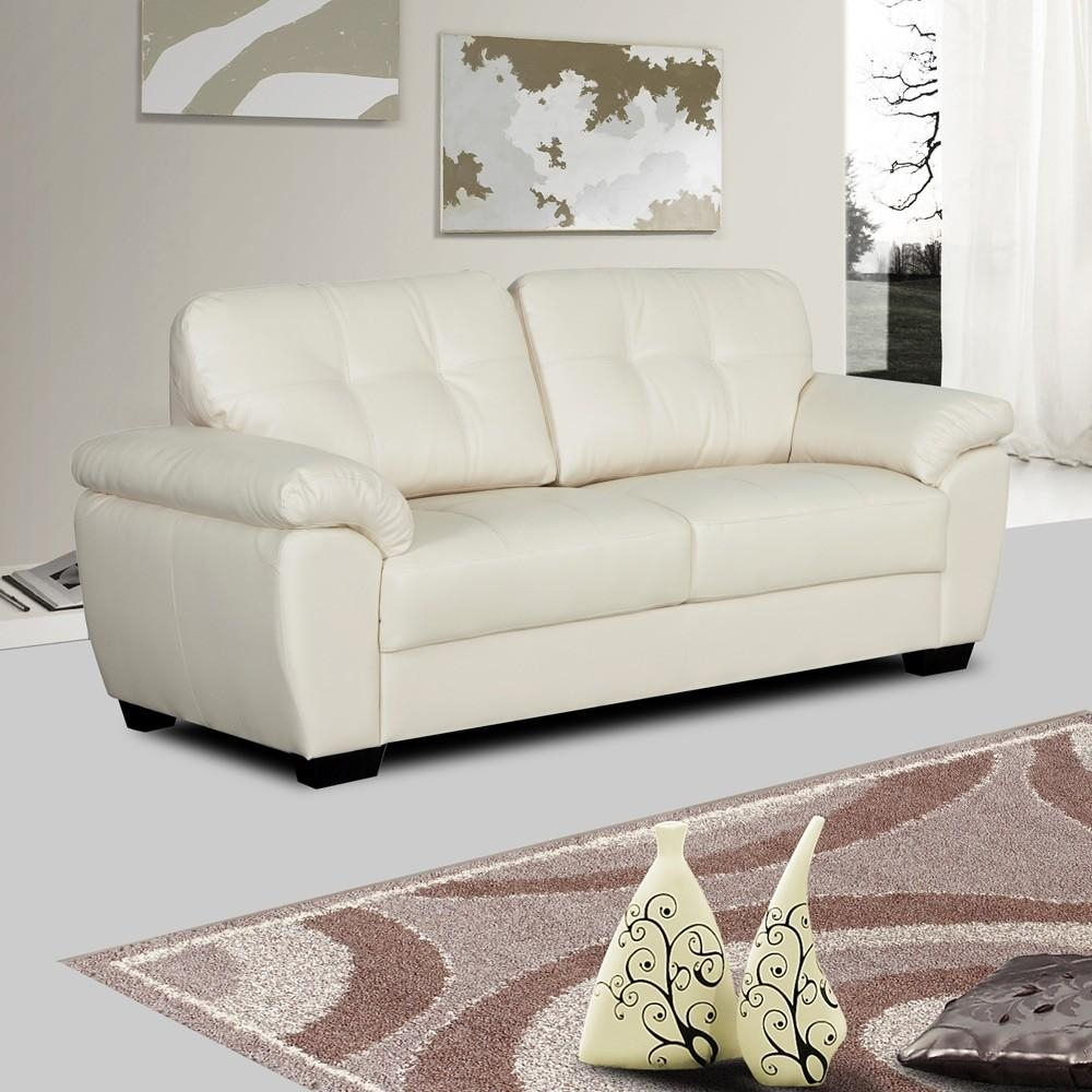 Ivory Cream Leather Sofa Collection With Tufted Seats And Cushions Intended For Ivory Leather Sofas (View 18 of 20)