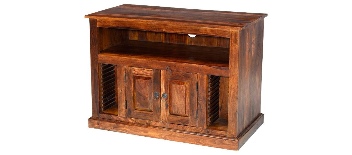 Jali Sheesham Chunky Tv Stand | Quercus Living Regarding Recent Jali Tv Cabinets (View 11 of 20)