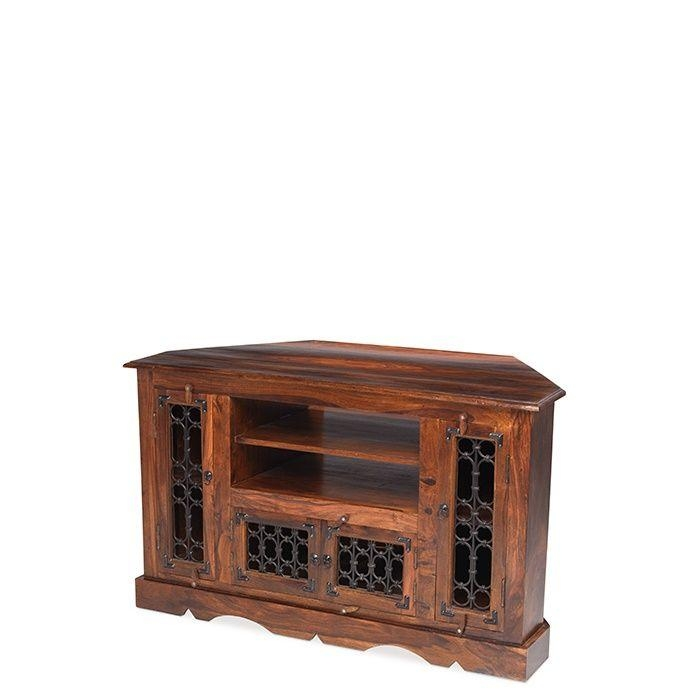 Jali Sheesham Wood Corner Tv Cabinet For Most Up To Date Jali Tv Cabinets (Image 11 of 20)