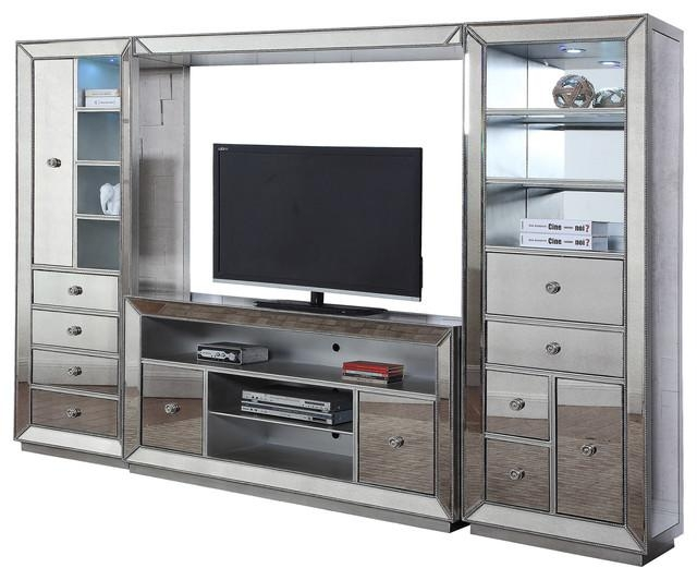 Jameson 4 Piece Entertainment Center, Silver Antique Mirrored Regarding Newest Silver Tv Stands (View 6 of 20)