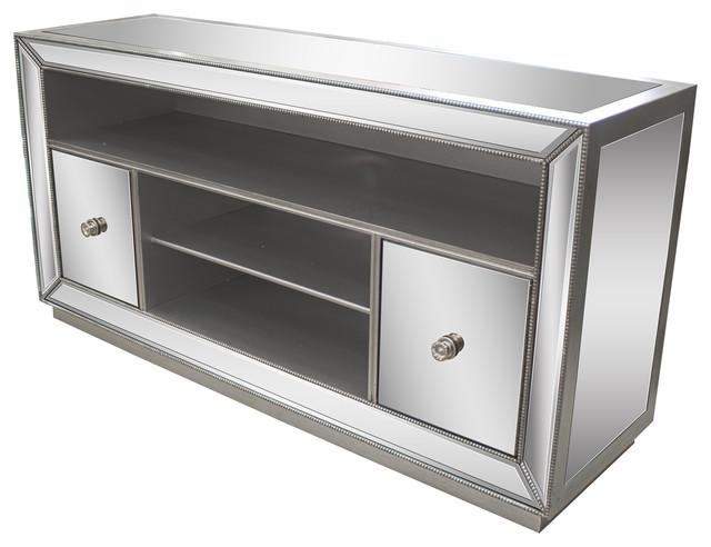 Jameson Mirrored Tv Stand – Transitional – Entertainment Centers With Most Up To Date Mirrored Tv Stands (Image 9 of 20)