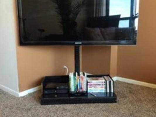 Jb Flat Screen Tv Stand Gets Your Tv Off The Wall And Moving Intended For 2017 Off The Wall Tv Stands (Image 7 of 20)