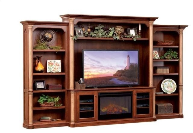 Jefferson Premier Entertainment Tv Stand & Hutch With Fireplace pertaining to 2017 Tv Stands With Bookcases