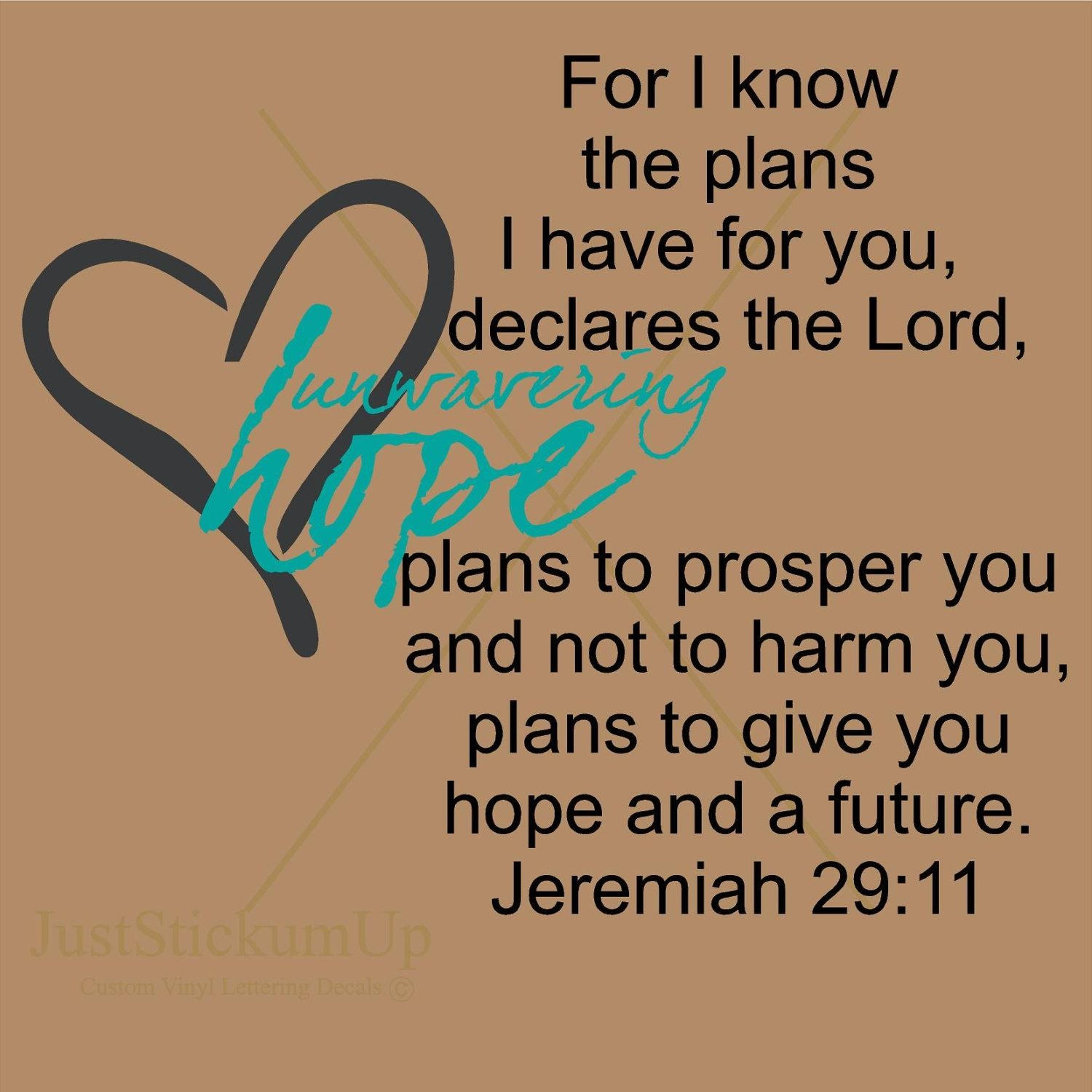 Jeremiah 29 11 For I Know The Plans Christian Scripture for Jeremiah 29 11 Wall Art