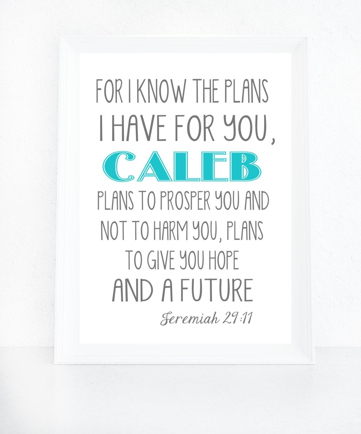Jeremiah 29:11 Wall Art Nursery Art Print For I Know The Within Jeremiah 29 11 Wall Art (View 17 of 20)