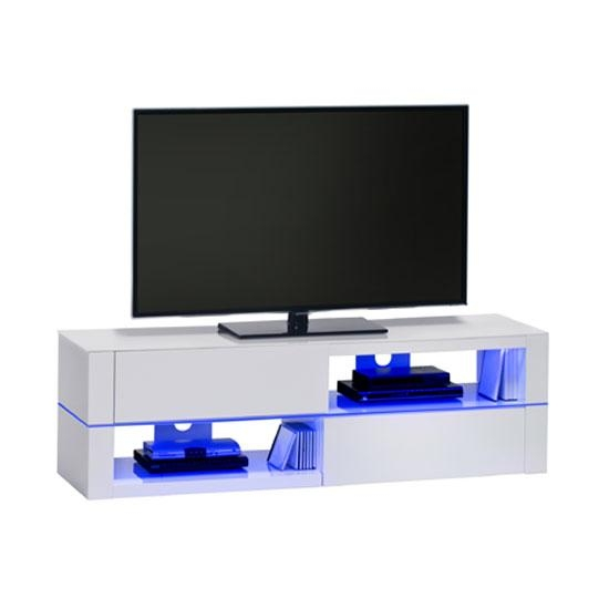 Jimmy White High Gloss Lcd Tv Stand With Led Light And Pertaining To Most Current Tv Stands With Led Lights (Image 6 of 20)