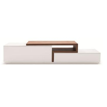 J&m Furniture Tv Stand 045 In White High Gloss & Walnut - Beyond inside Most Recently Released White Wood Tv Stands