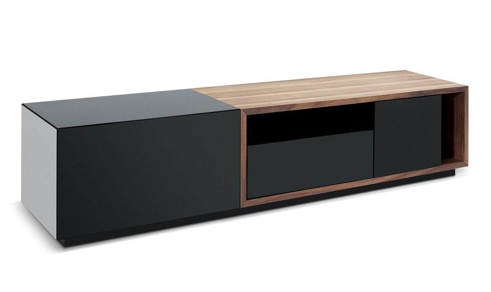 J&m Furniture Tv Stand 047 In Black High Gloss & Walnut – Beyond Within 2018 Walnut And Black Gloss Tv Unit (Image 8 of 20)