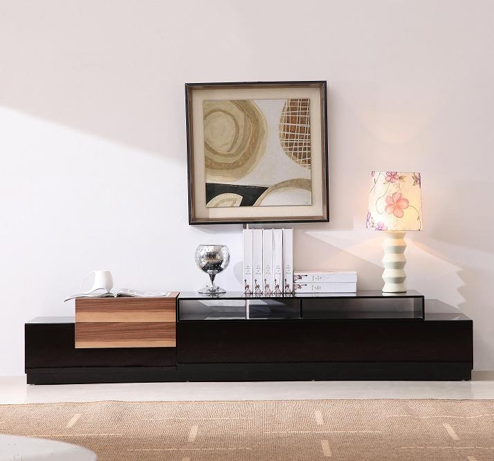 J&m Furniture Tv Stand 072 In Black High Gloss & Walnut – Beyond For Recent Walnut And Black Gloss Tv Unit (Image 9 of 20)