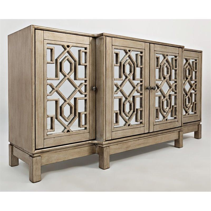 """Jofran Casa Bella 70"""" Mirrored Tv Stand In Vintage Silver - 1550-70 with regard to Most Popular Mirrored Tv Stands"""