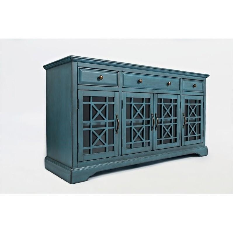 "Jofran Craftsman 60"" Three Drawer Media Unit In Antique Blue – 175 60 Intended For Newest Blue Tv Stands (Image 11 of 20)"