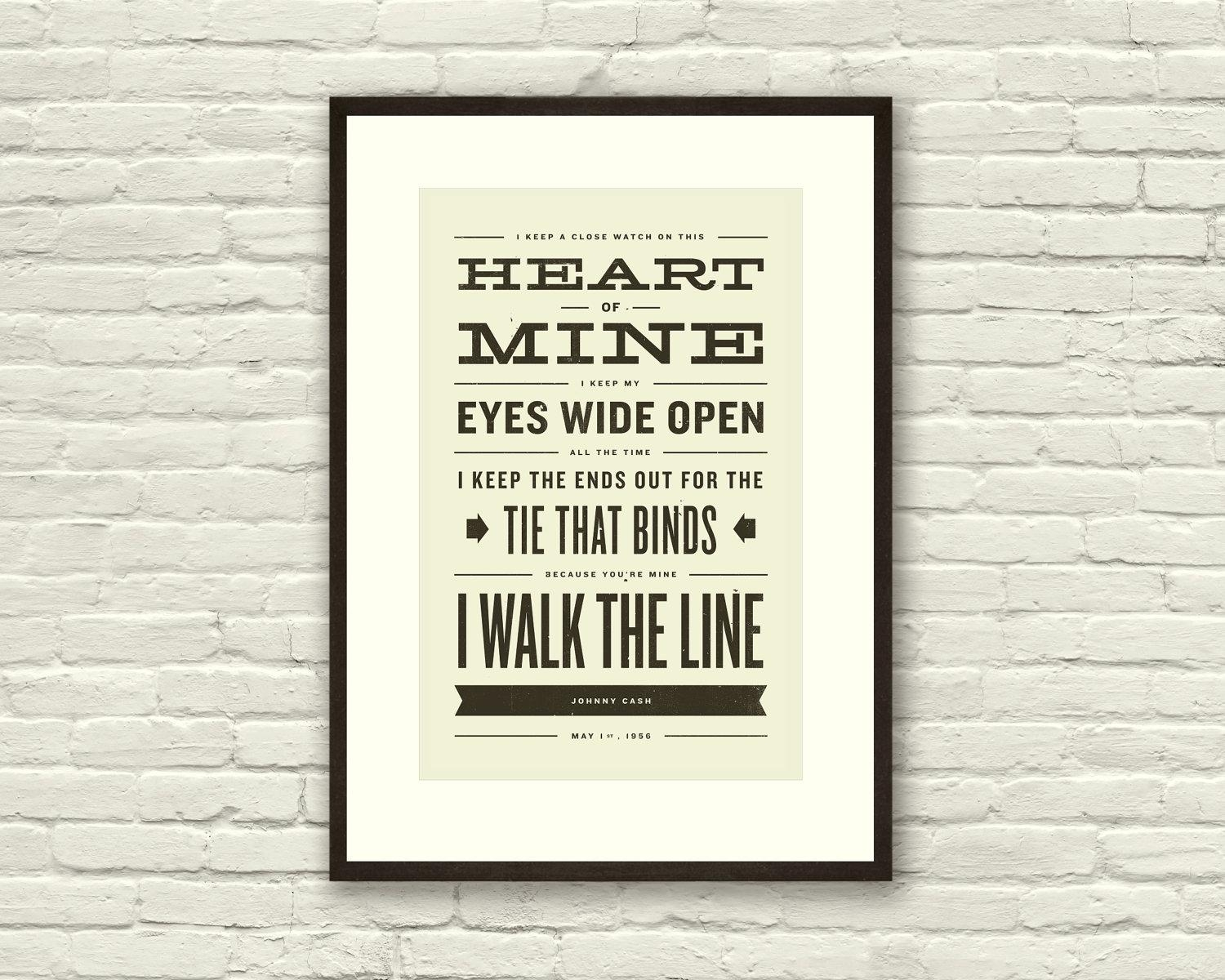 Johnny Cash Inspired Walk The Line Lyric Poster 11 X17 inside Johnny Cash Wall Art