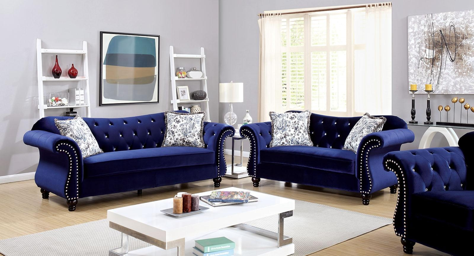 Jolanda Collection Blue Flannelette Button Tufted & Nailhead Trim With Regard To Blue Tufted Sofas (Image 11 of 22)