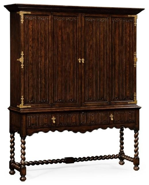 Jonathan Charles Tv Cabinet Tudor Oak – Traditional – Media Regarding Latest Traditional Tv Cabinets (View 6 of 20)