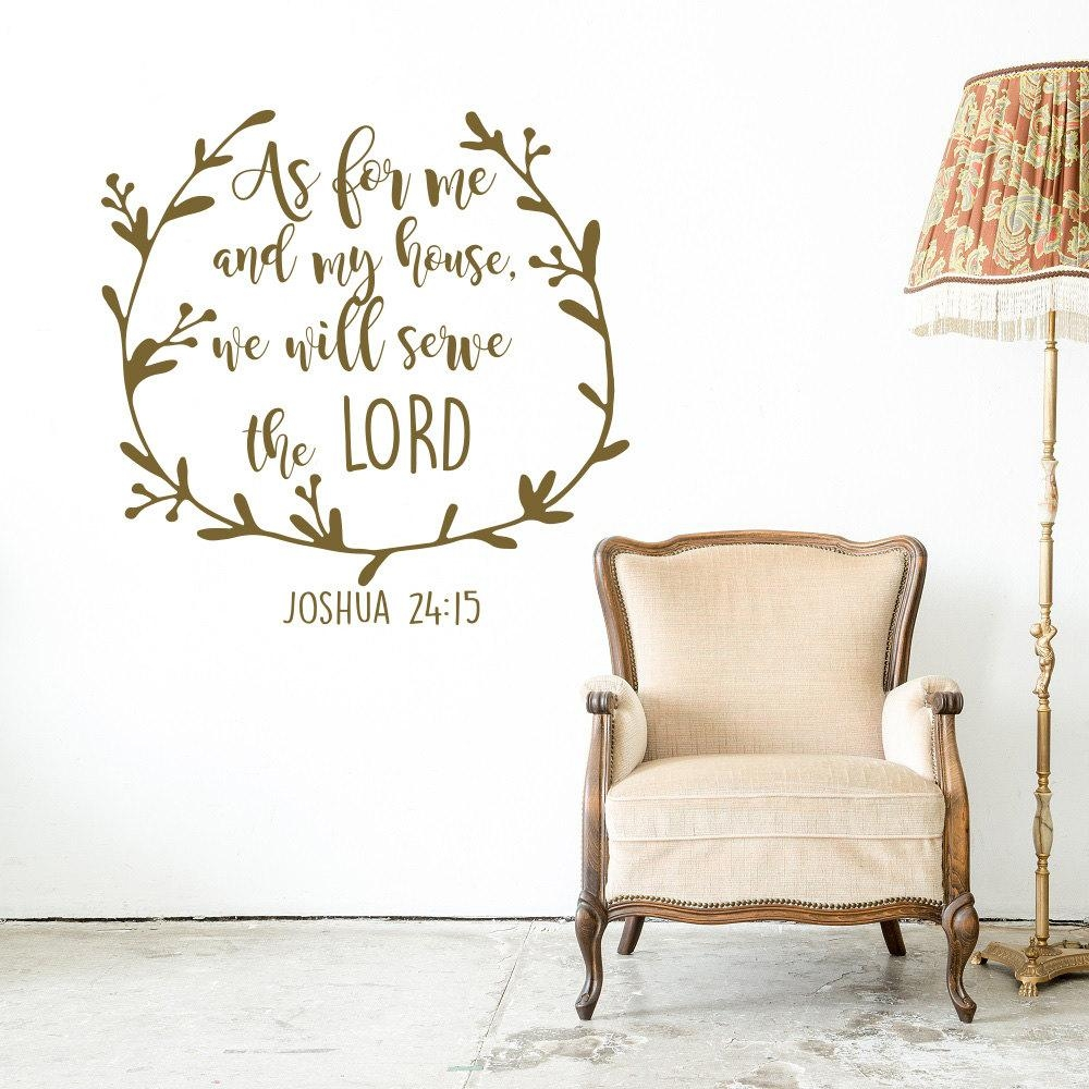 Joshua 24:15 Scripture Wall Decal As For Me And My House We for As For Me And My House Vinyl Wall Art