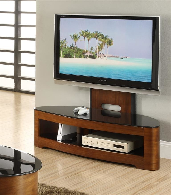 Jual Cantilever Modern Tv Stand Glass Top With Shelf - Walnut Or intended for Newest Tv Stand Cantilever