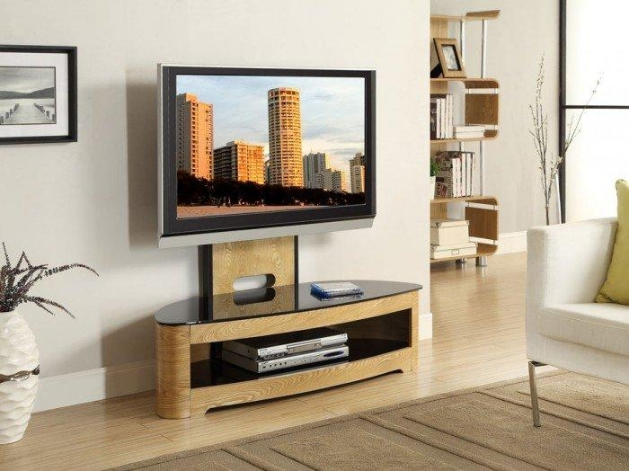 Jual Curve Jf209 Oak Cantilever Tv Stand intended for Recent Cantilever Tv Stands