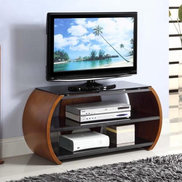Jual Jf208 Curve Walnut Tv Stand 100Cm | Free Delivery Pertaining To Most Current 100Cm Tv Stands (Image 5 of 20)