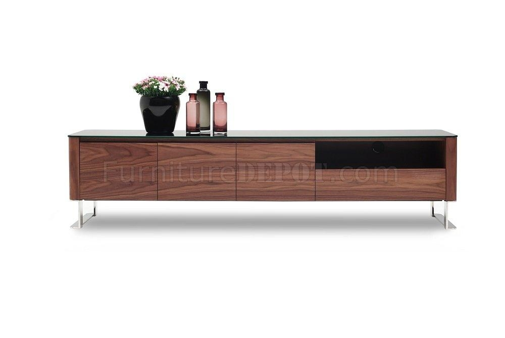 Julian Tv Stand In Walnutj&m W/black Glass Top With Regard To Most Popular Wood Tv Stand With Glass Top (View 12 of 20)