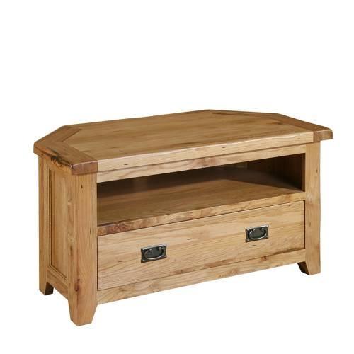 Just Right Furniture Chateau Rustic Reclaimed Oak Corner Tv Unit for Latest Rustic Corner Tv Cabinets