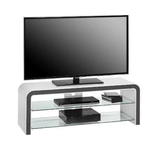 Kaira White High Gloss Lcd Tv Stand With Clear Glass Regarding Current Clear Glass Tv Stand (Image 10 of 20)