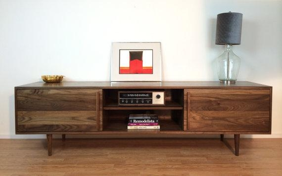 Kasse Credenza / Tv Stand 84 In Solid Walnut With Most Popular Walnut Tv Cabinets With Doors (Image 9 of 20)