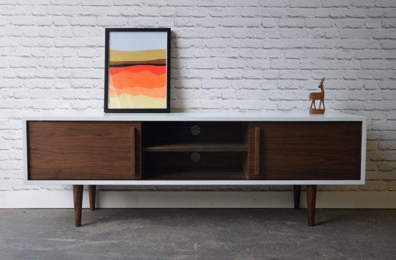Kasse Tv Stand In White / Walnut Combo With Most Up To Date Scandinavian Tv Stands (Image 5 of 20)