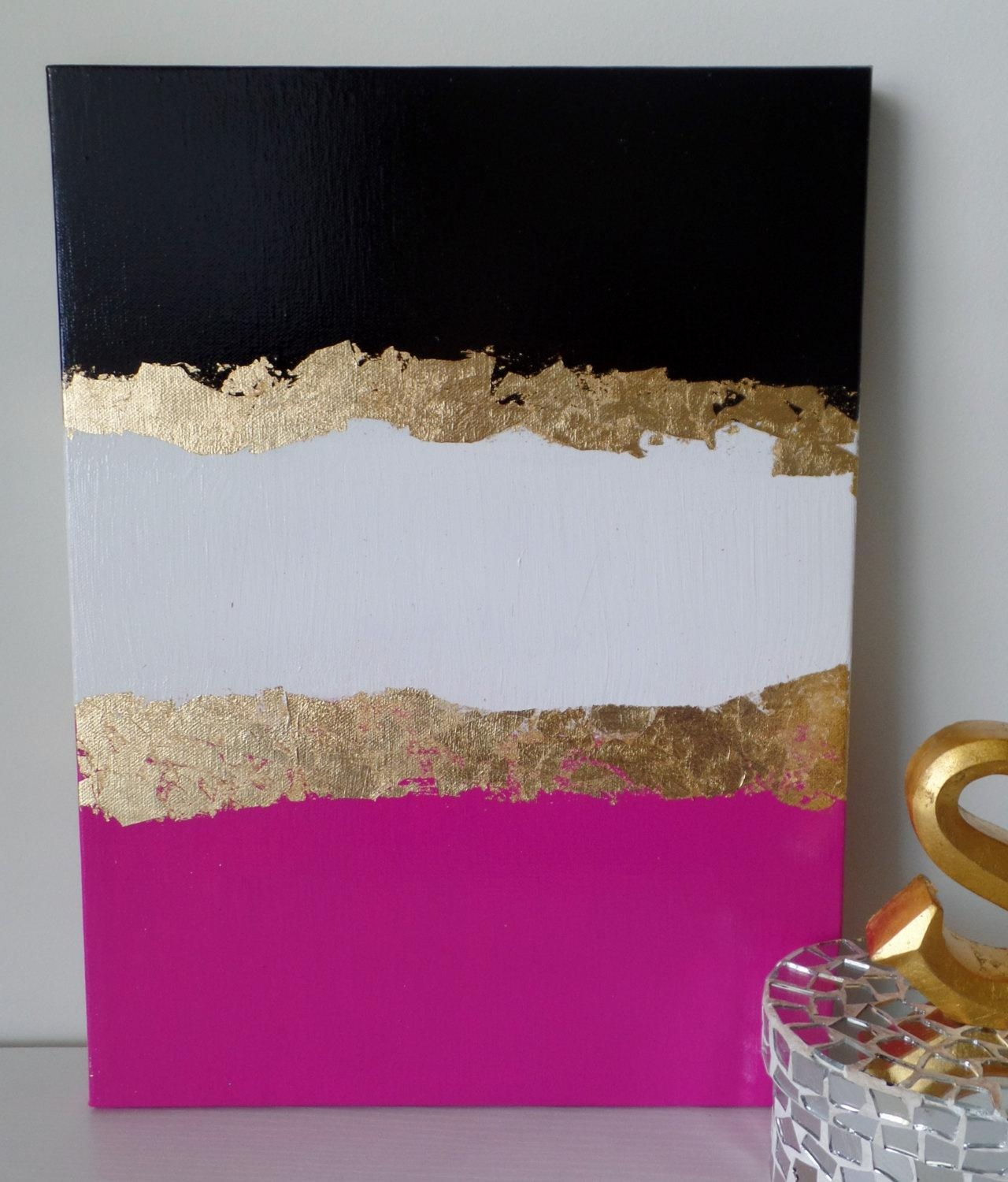 Kate Spade Decoration Inspired Dorm Acrylic Canvas Painting With Pink And White Wall Art (View 6 of 20)