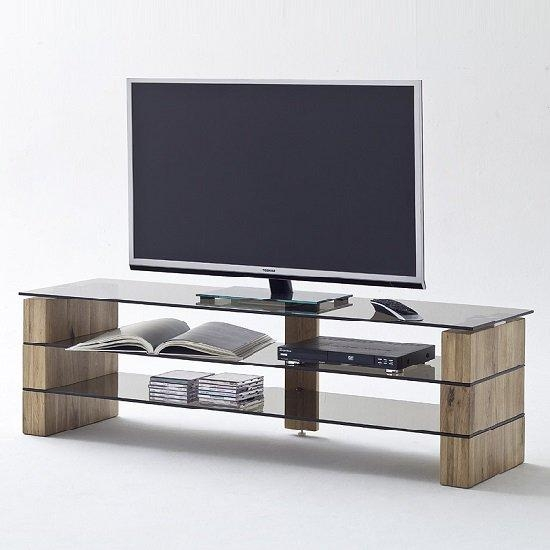Kathryn Glass Tv Stand In Smoke With Solid Oak Frame 27572 For 2018 Glass Tv Stands (View 20 of 20)