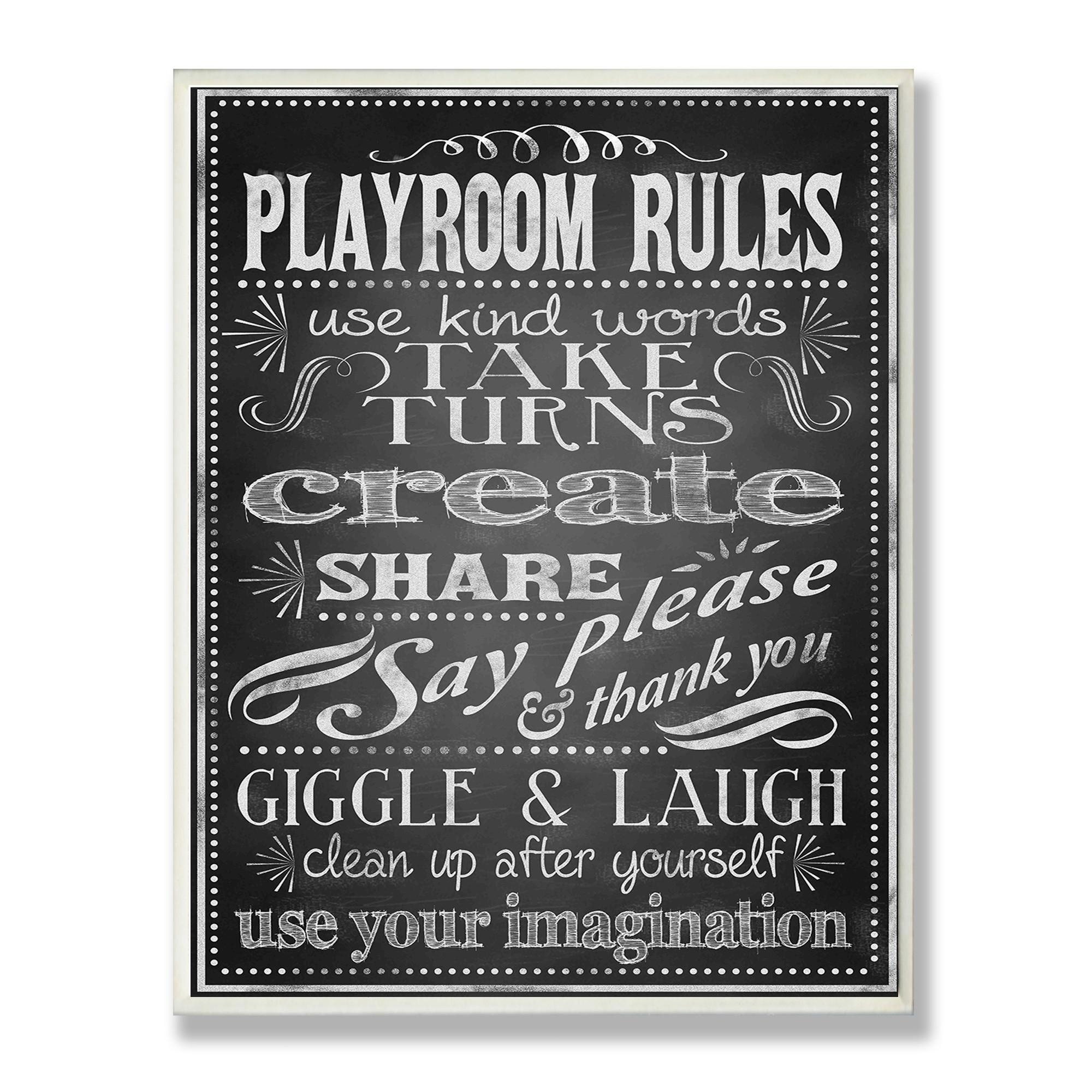 Kids Wall Art Wayfair The Room Black And White Chalkboard Look For Playroom Rules Wall Art (View 7 of 20)