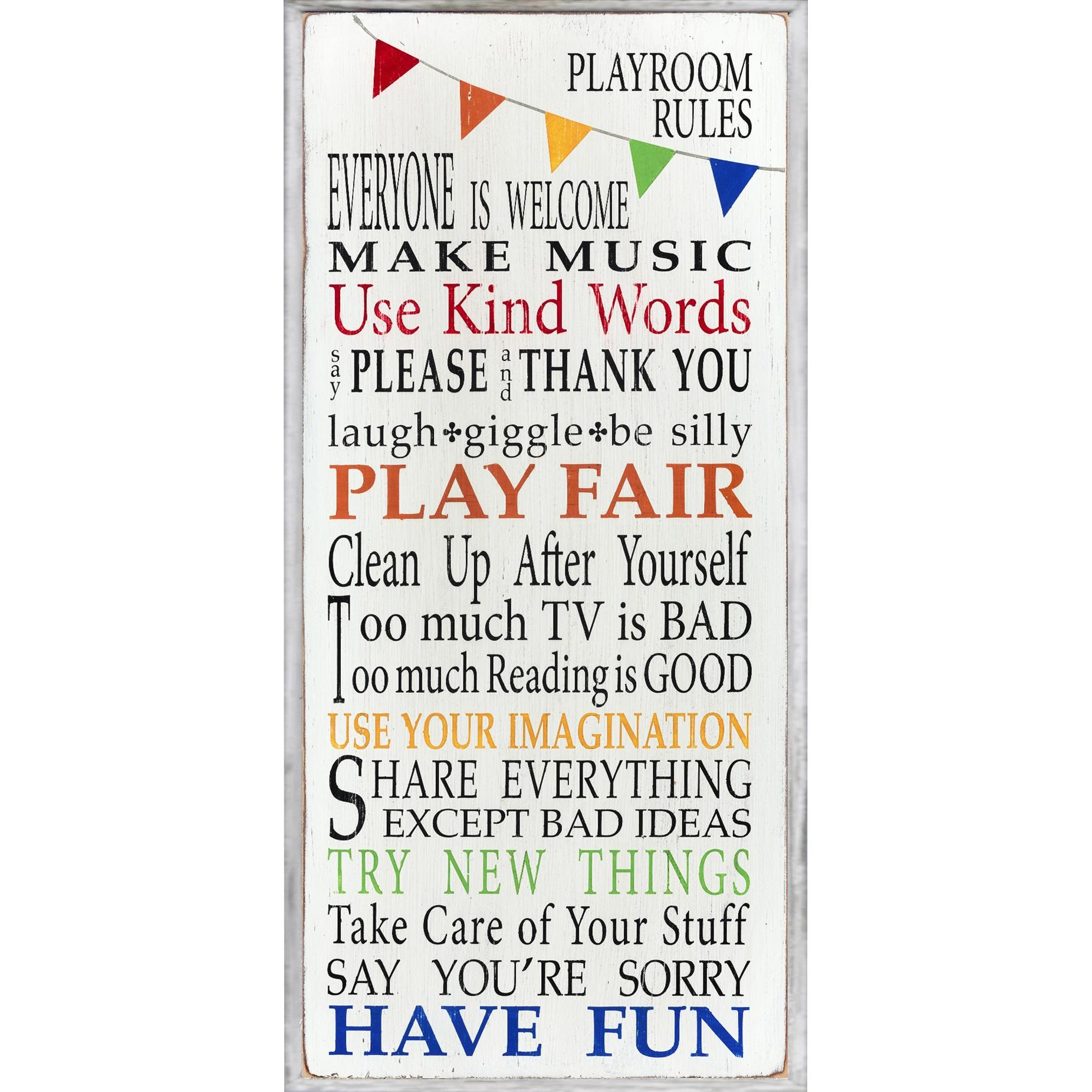 Kids Wall Art Wayfair The Room Rainbow Playroom Rules Plaque Pertaining To Playroom Rules Wall Art (View 2 of 20)
