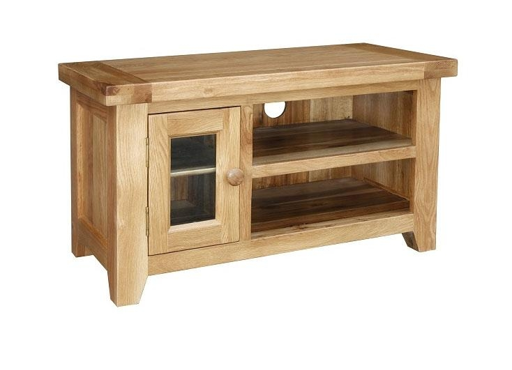 Kincraig Small Solid Rustic Oak Tv Unit With Regard To Most Popular Small Oak Tv Cabinets (Image 12 of 20)