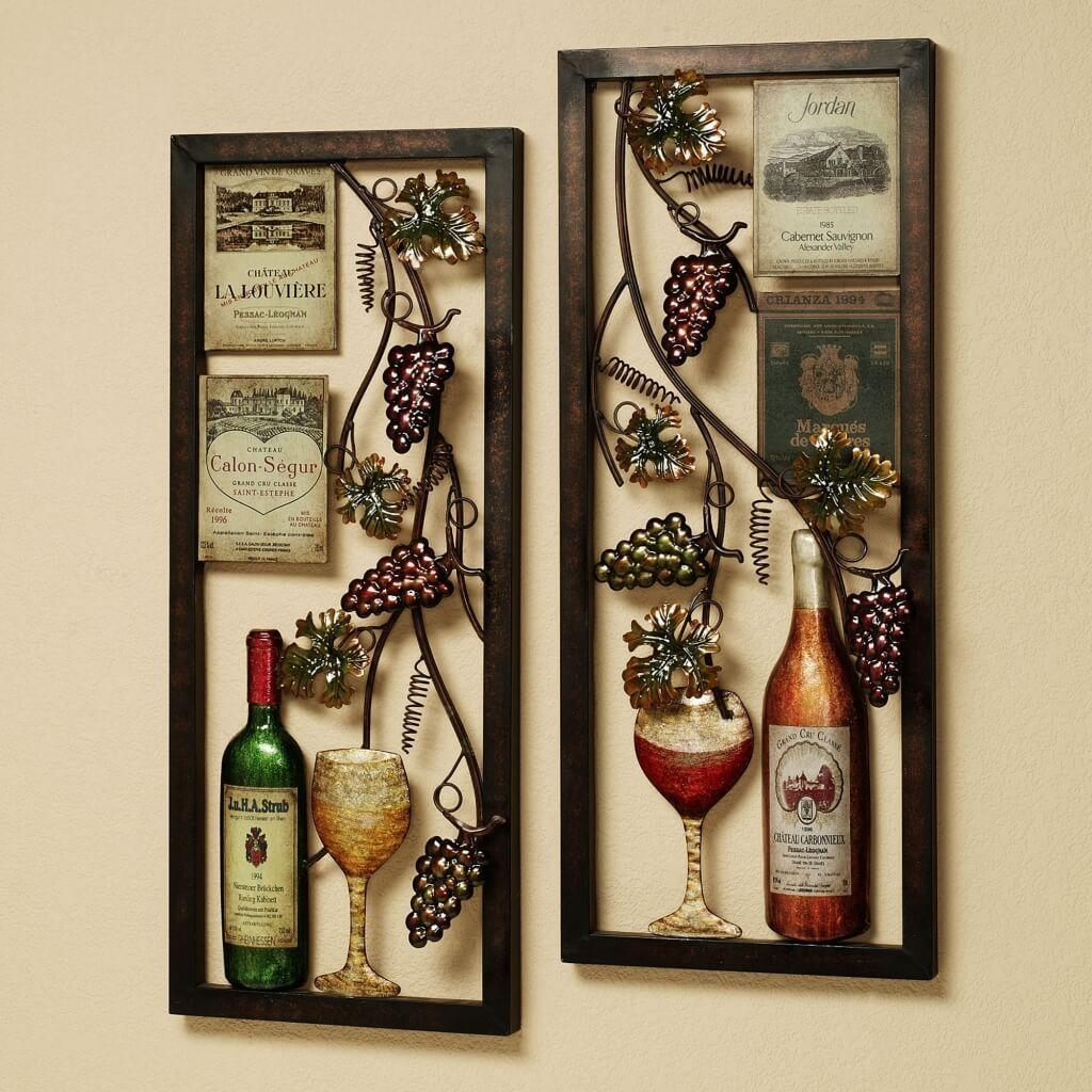 Kitchen: Vintage Metal Grape And White Art Frames For Kitchen Wall With Metal Grape Wall Art (Image 14 of 20)