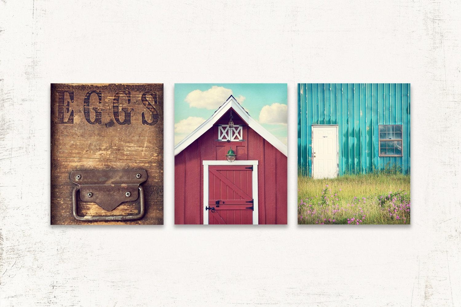 Kitchen Wall Art Rustic Kitchen Wall Decor Set Of Three Inside Teal And Green Wall Art (View 8 of 20)