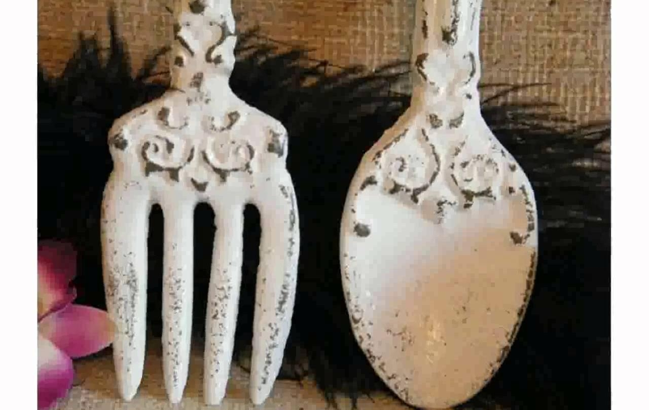 Kitchen Wall Decor Fork And Spoon – Youtube Throughout Utensil Wall Art (View 18 of 21)