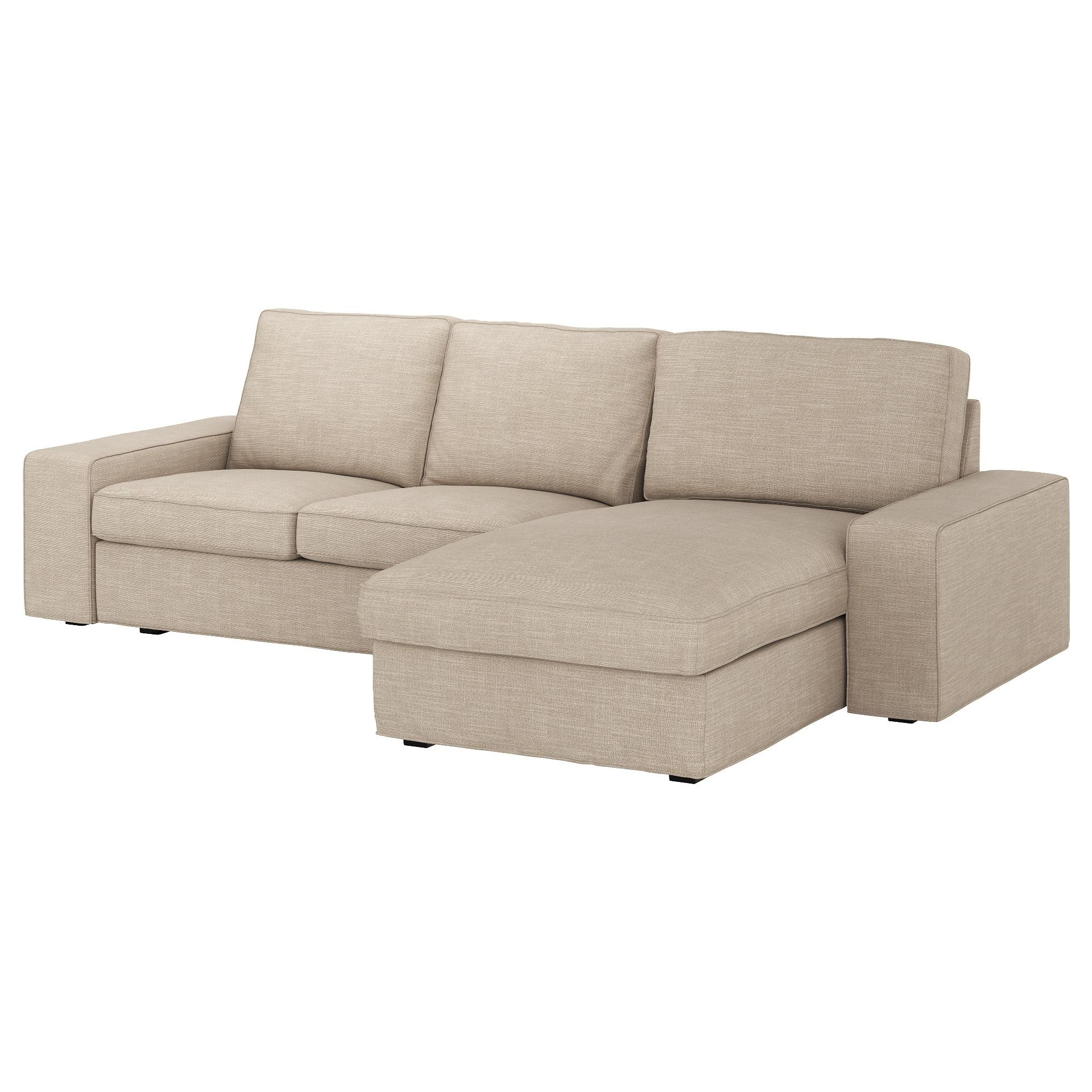 Kivik 3 Seat Sofa With Chaise Longue/hillared Beige – Ikea In Ikea Chaise Lounge Sofa (Image 11 of 20)