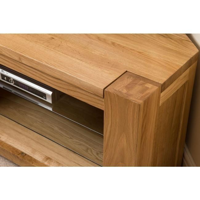 Kuba Solid Oak Corner Tv Cabinet | Oak Furniture King Inside Newest Solid Oak Corner Tv Cabinets (Image 10 of 20)