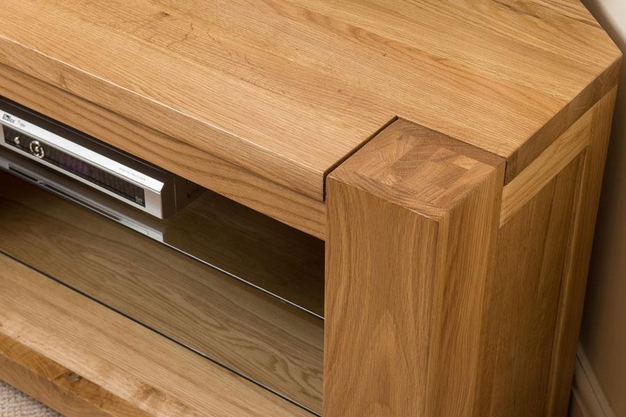Kuba Solid Oak Wood Glass Corner Tv Hi Fi Cabinet Stand Unit In Latest Solid Wood Corner Tv Cabinets (Image 11 of 20)