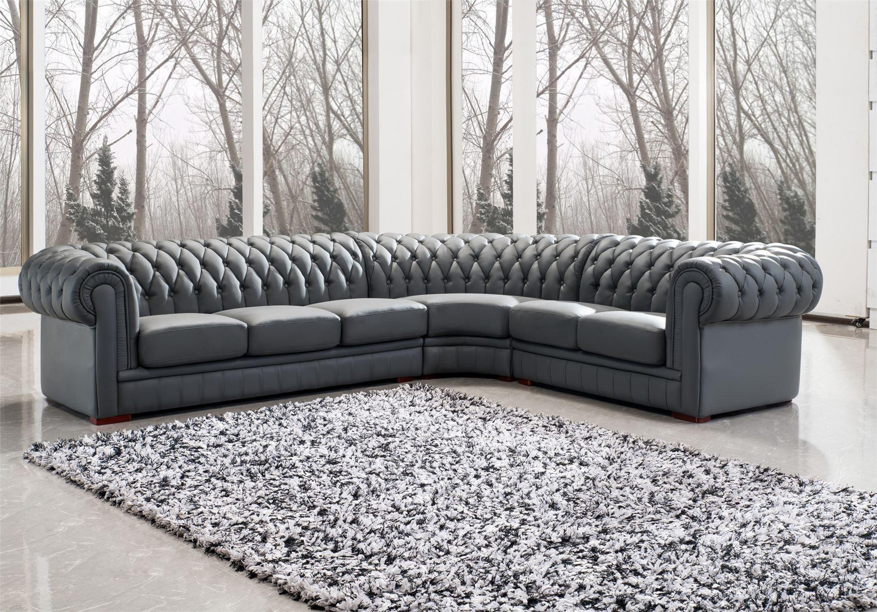 L Shape Gray Leather Sectional Sofa With Back And Arm Rest Placed Inside Gray Leather Sectional Sofas (Image 16 of 21)