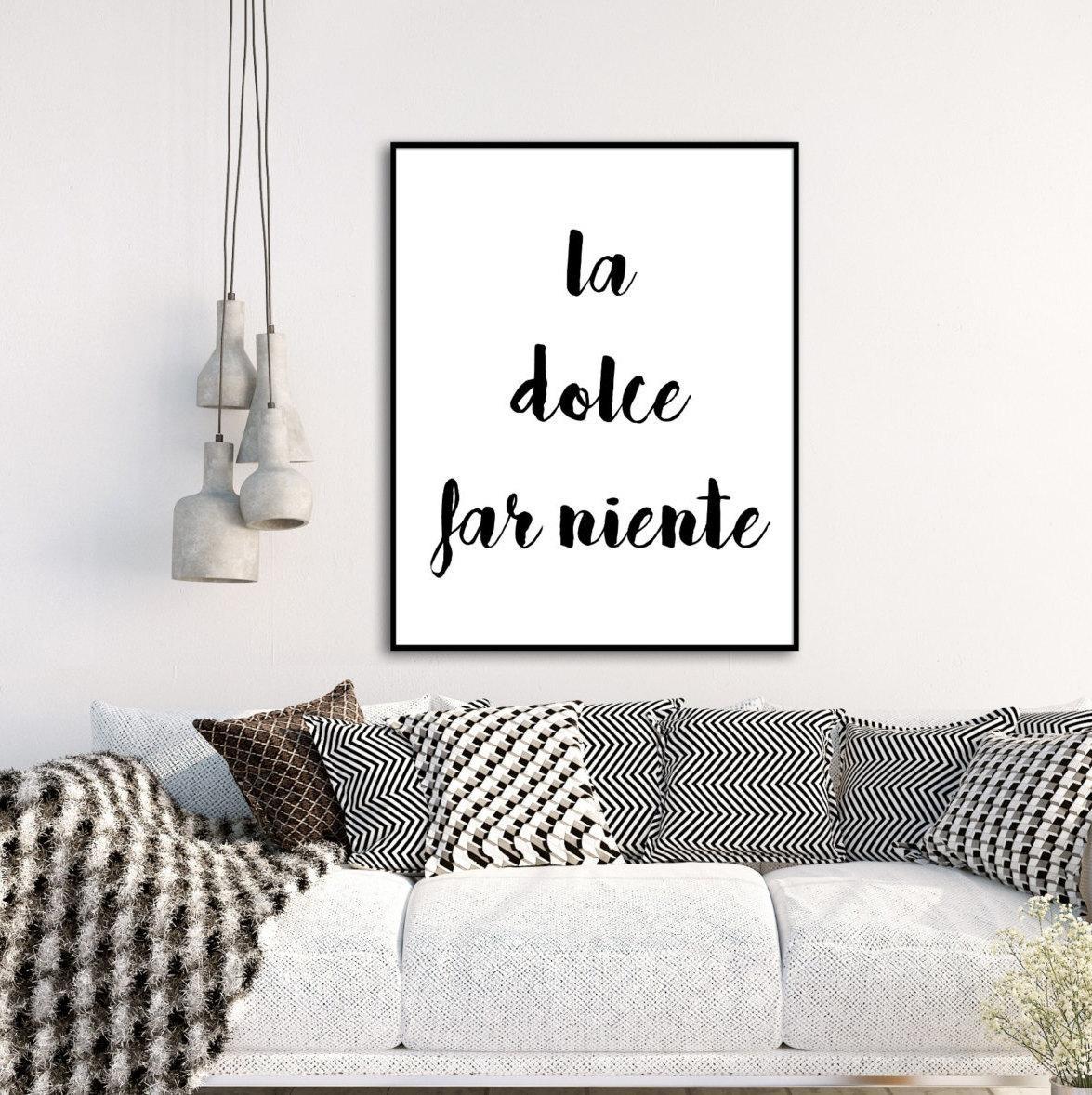 La Dolce Far Ninety Italian Quote Digital Print Wall Art Throughout Italian Words Wall Art (Image 12 of 20)