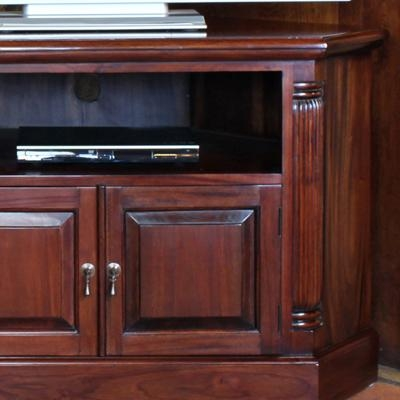 La Roque Solid Mahogany Corner Tv Unit – Robson Furniture Pertaining To Current Mahogany Corner Tv Cabinets (Image 12 of 20)