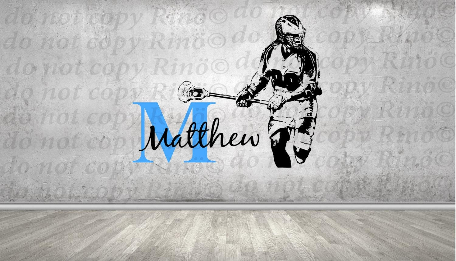 Lacrosse Decals Lax Wall Decal - Custom First Name Lacrosse Decor inside Lacrosse Wall Art