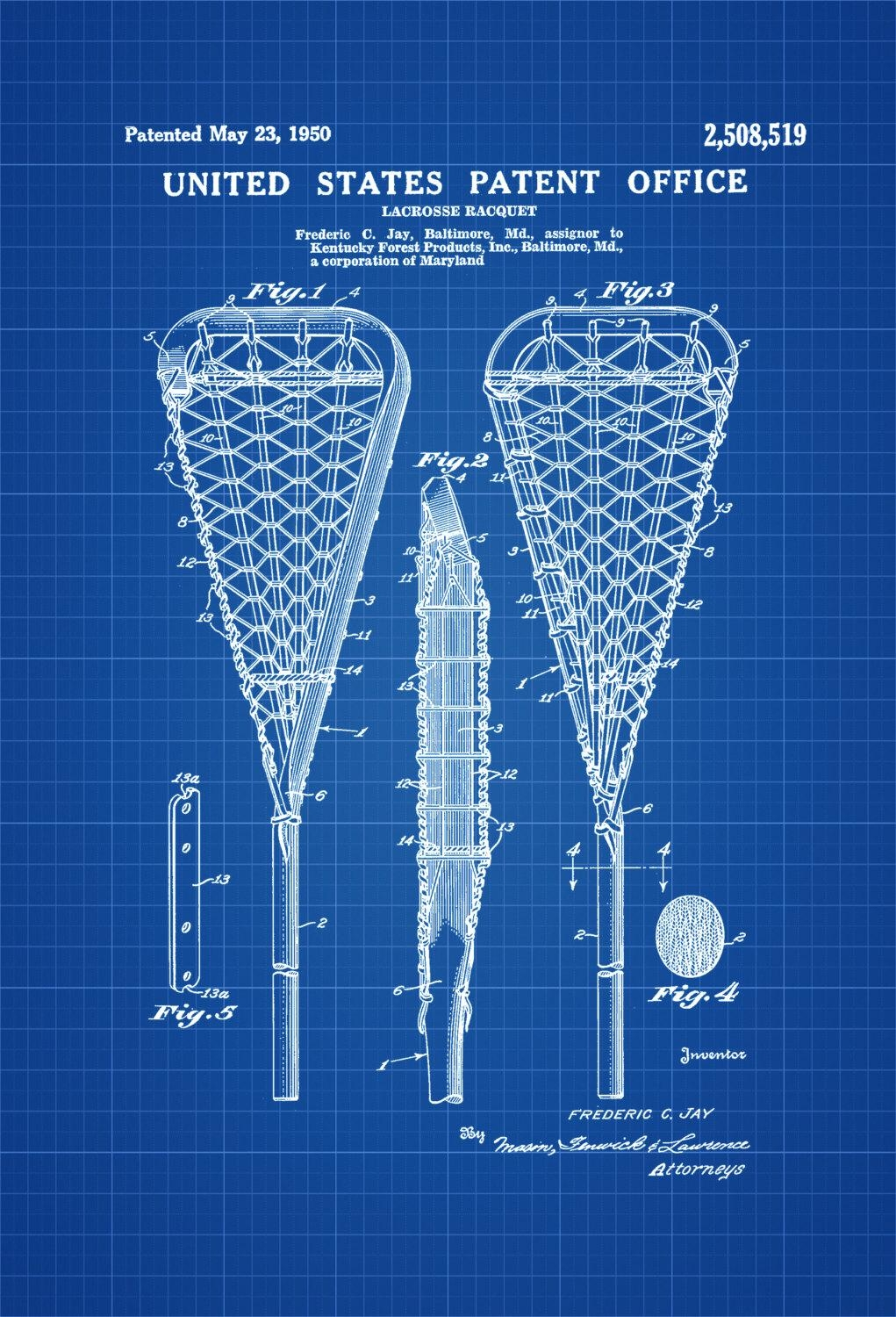Lacrosse Racquet Patent – Patent Print, Wall Decor, Lacrosse Art For Lacrosse Wall Art (View 7 of 20)